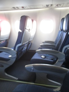 Empty seats on the plane.