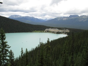 Lake  Louise from the viewpoint.