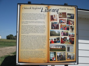 Sign detailing the history of the Hazlet library.