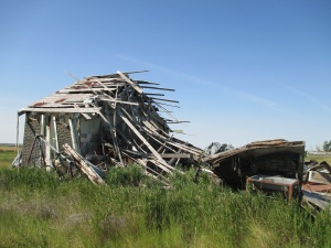 The mostly collapsed house